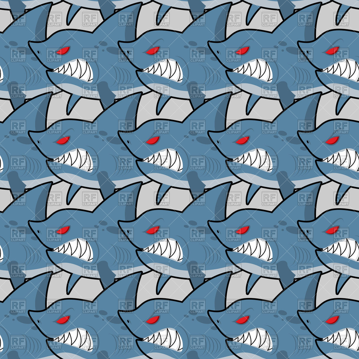 Hungry sharks with red eyes seamless texture Vector Image #130059.