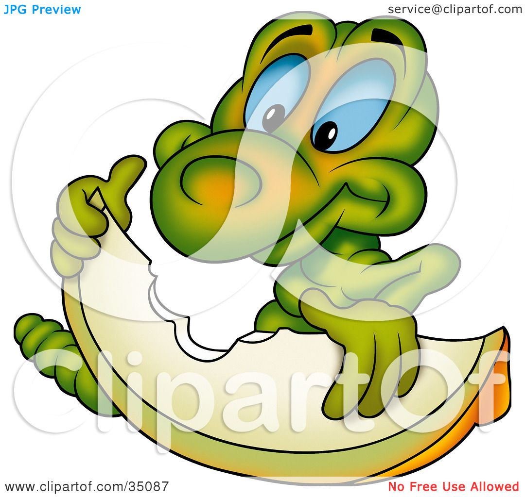 Clipart Illustration of a Hungry Green Worm With Blue Eyes.