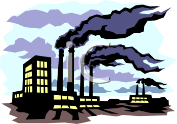 Black smokeing from a factory free clipart picture.