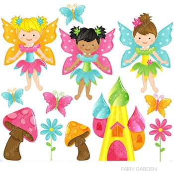 Fairy Garden Cute Digital Clipart, Fairy Graphics.