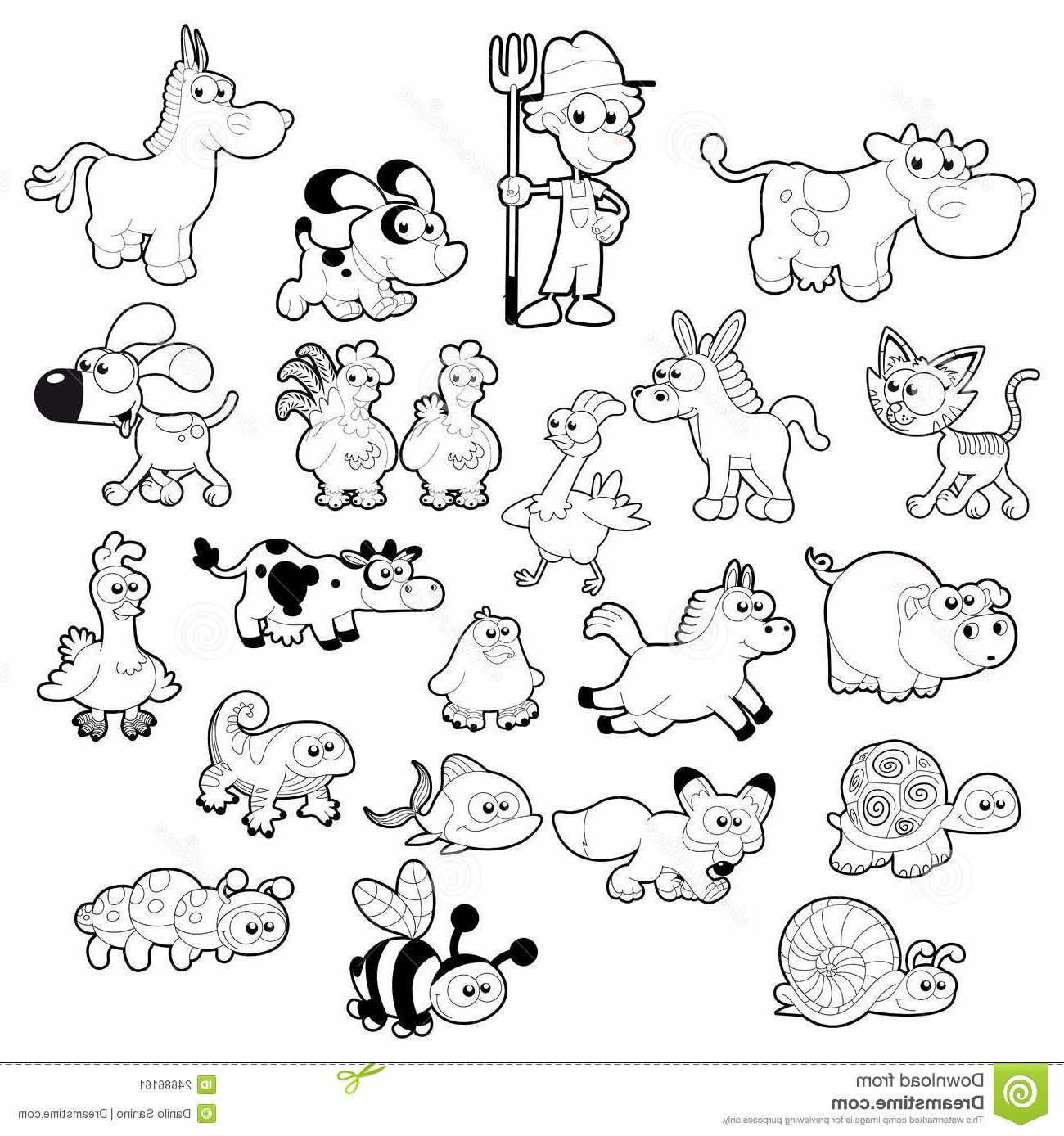 Farm Animals Clipart Black And White Background 1 HD.