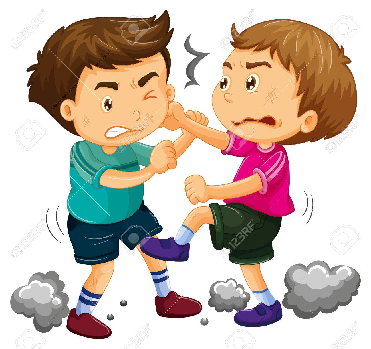 Two young boys fighting illustration.