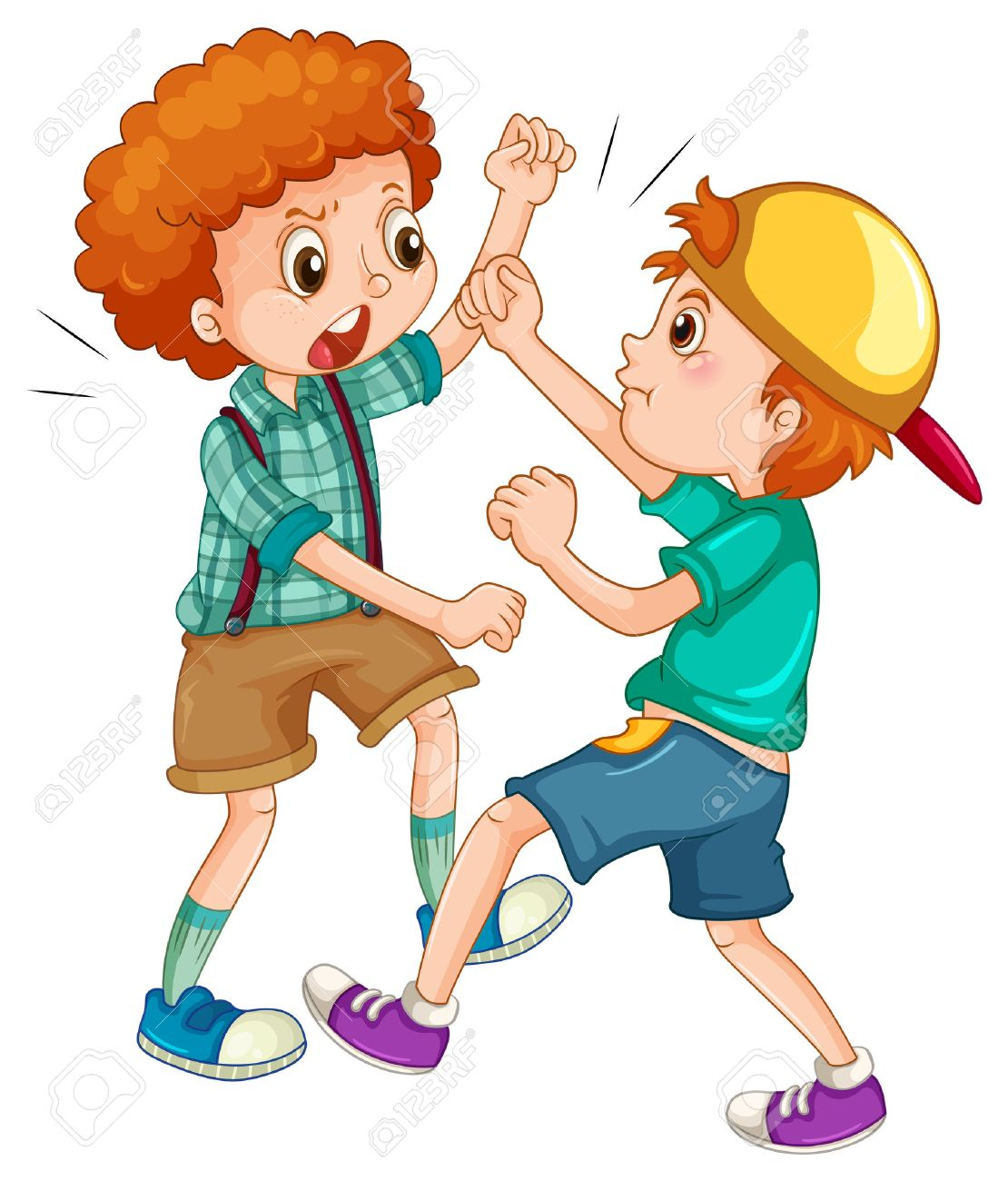 Two boys fighting each other illustration.