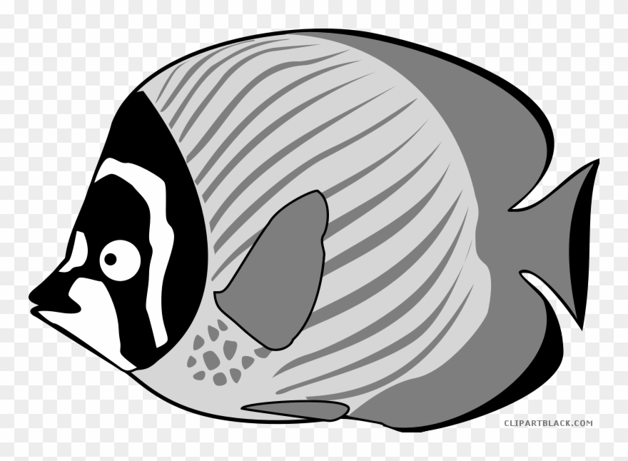 Image Tropical Fish Black And White Clipart.