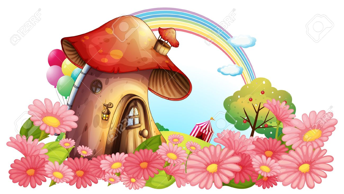 Illustration of a mushroom house with a garden of flowers on...