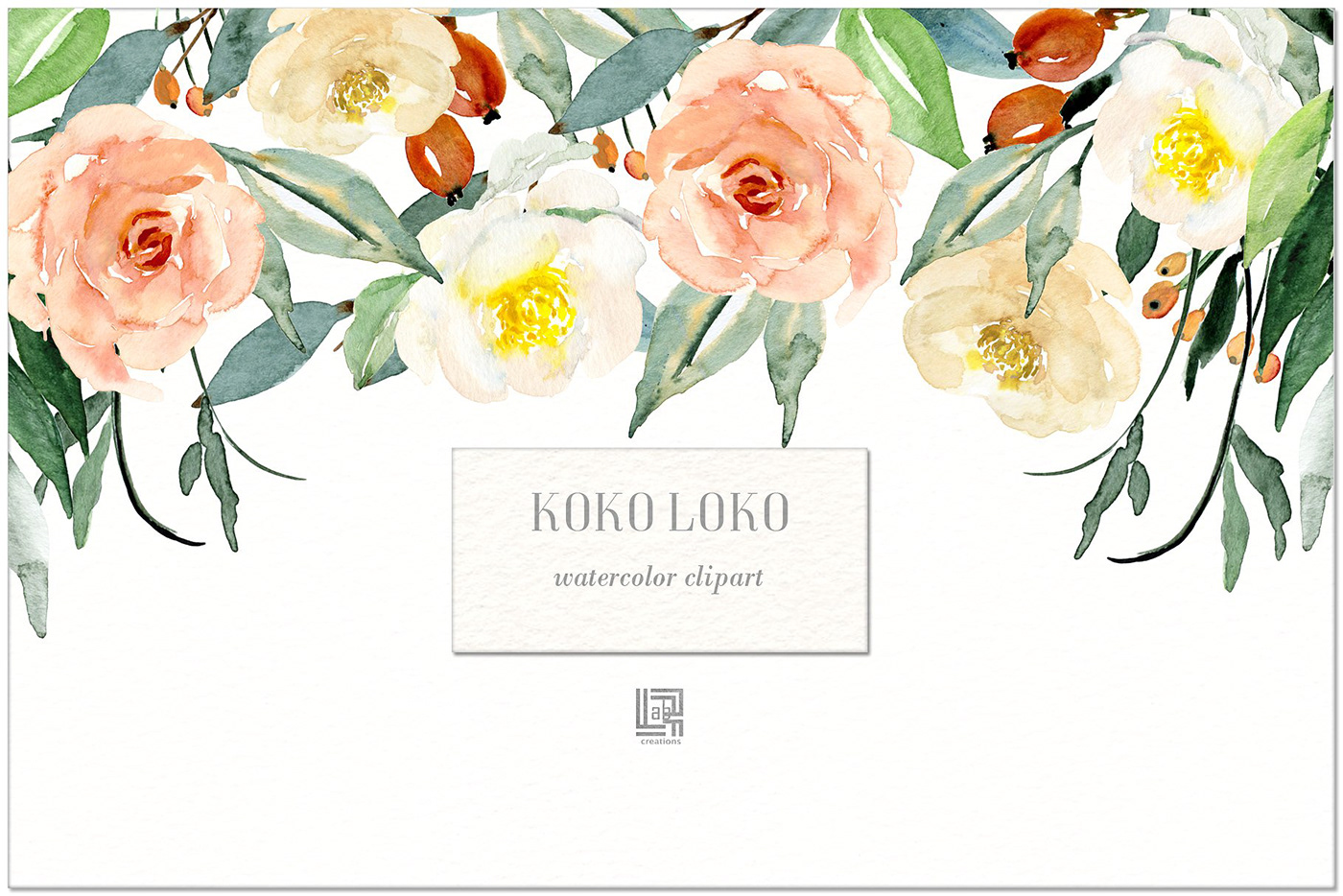 Koko Loko. Watercolor floral clipart FREE DOWNLOAD! on Behance.