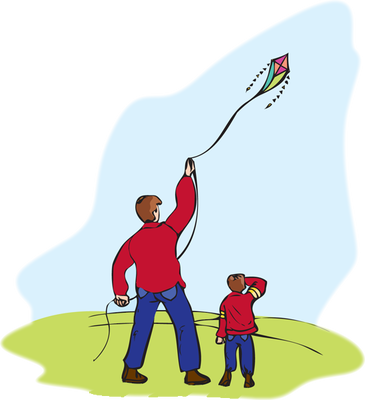 pictures of children flying kites.