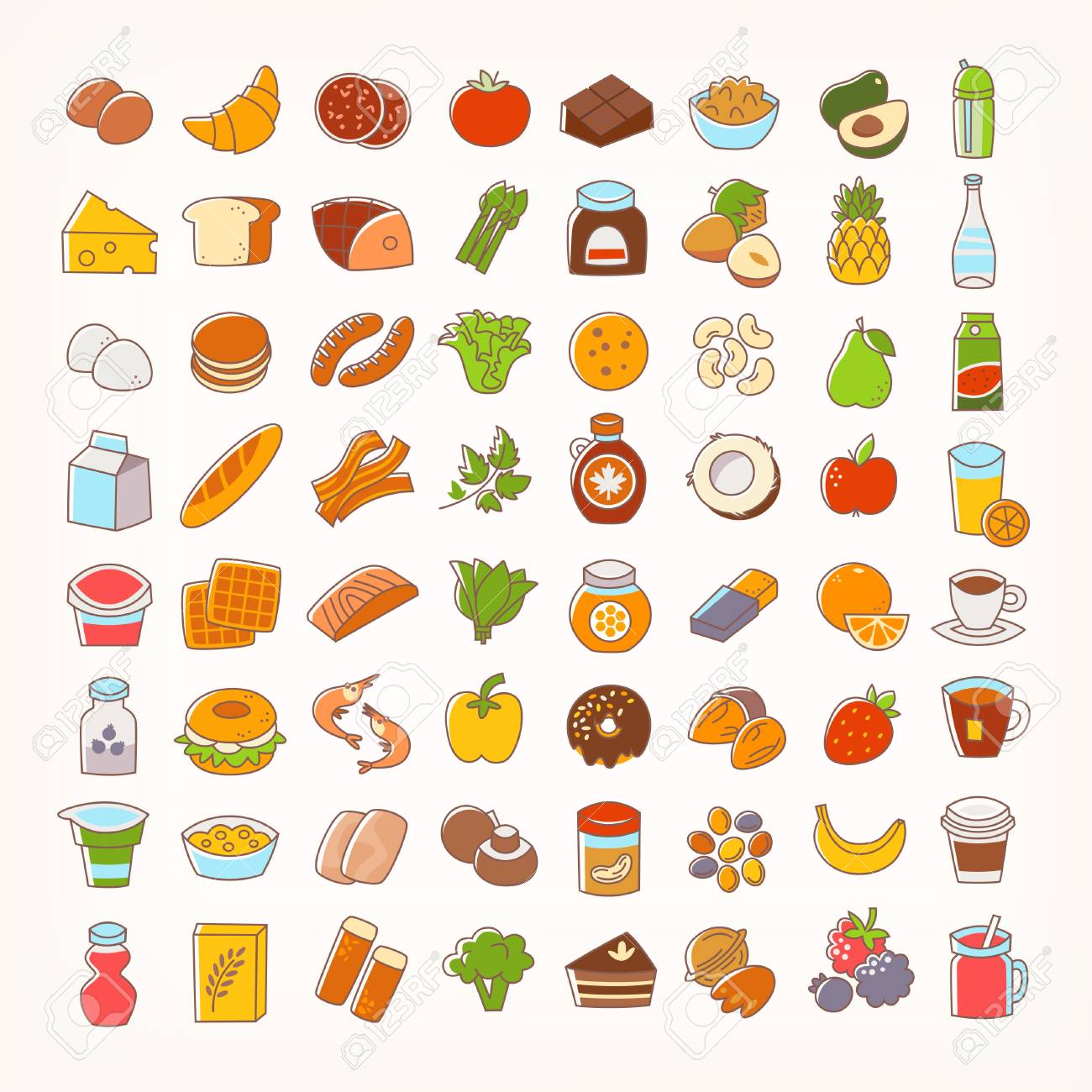 Set of colorful line stroke icons of food groups and goods. Big...
