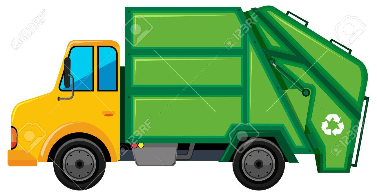 Rubbish truck with green container illustration.
