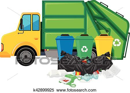 Garbage truck and three trashcans Clipart.