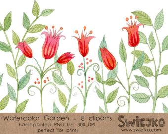 Items similar to Digital Flower Clip Art Flower Pot Clipart Garden.