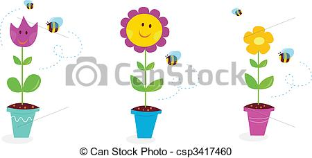 Vector Illustration of Happy Spring Flower Garden.