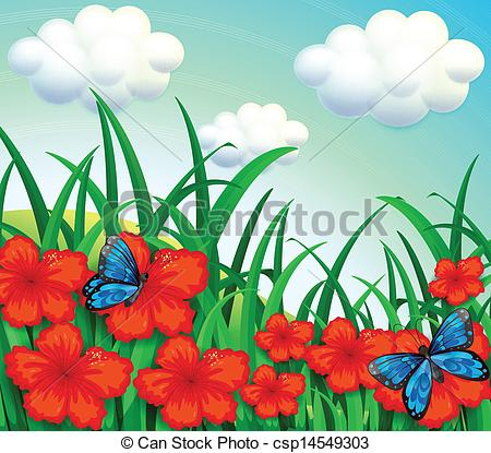 Vector Clipart of A garden with yellow flowers and blue.