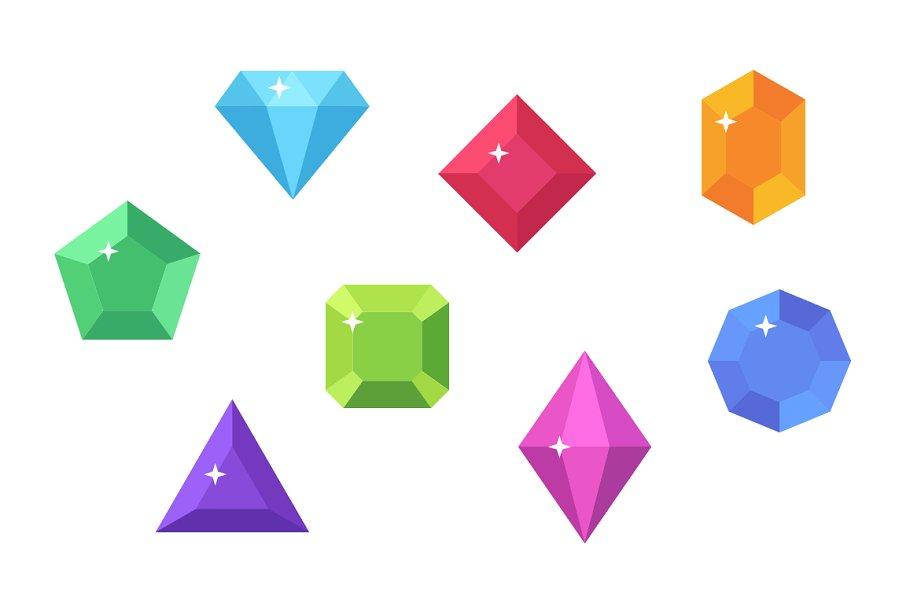 Gems Vector Flat Clip Art.