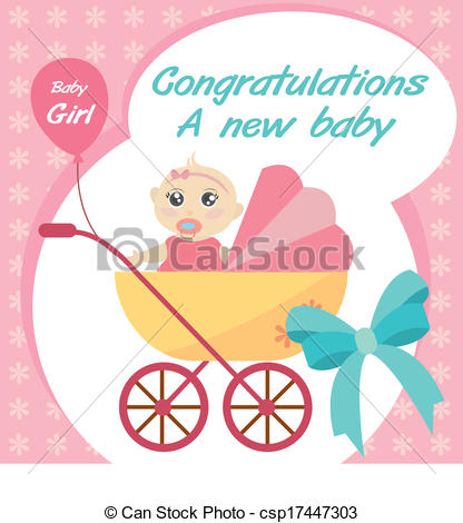 Vector Clipart of vector card new born baby girl.