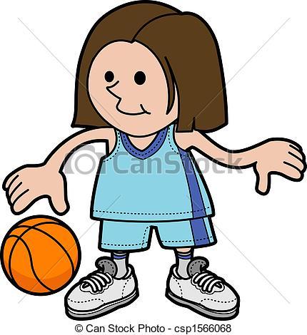 Vector of Illustration of girl playing basketball.