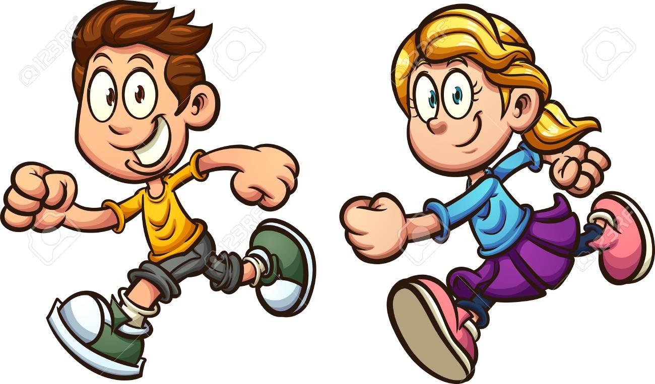 Cute cartoon running boy and girl. Vector clip art illustration...