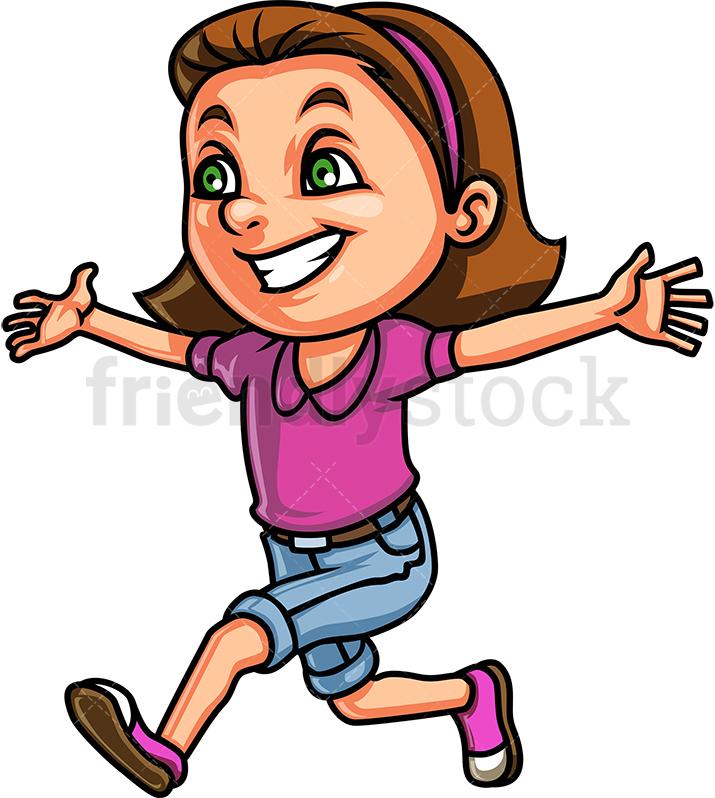 Little Girl Running For A Hug.