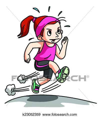 Girl Running Exercise isolated on w Clip Art.