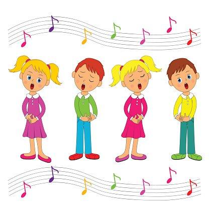 Boys and Girls Singing premium clipart.