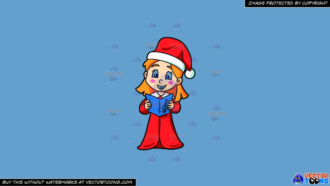 Clipart: A Girl Singing Some Nice Christmas Carol on a Solid Shadow Blue  6C8Ead Background.