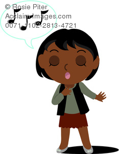 Clip Art Illustration Of A Girl Singing With Passion.