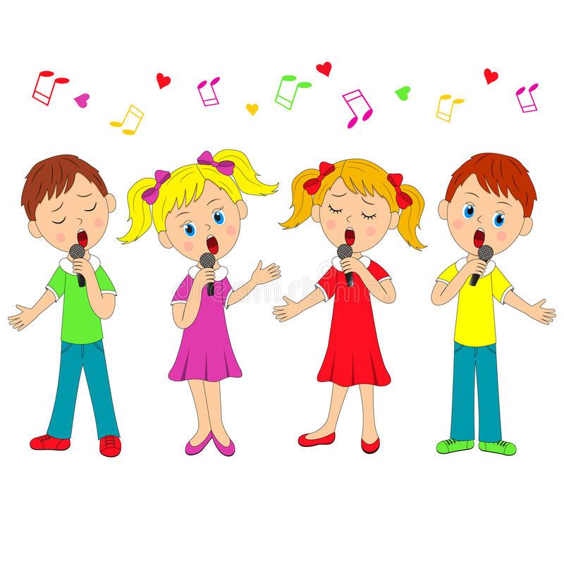 Girls Singing Stock Illustrations.