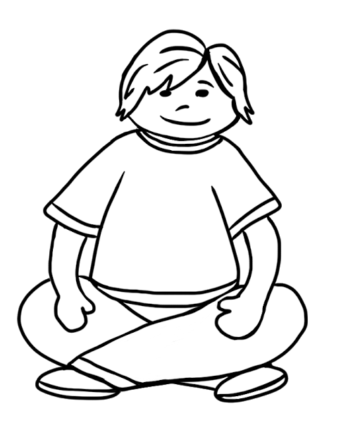 Clipart of black girl sitting crisscross.