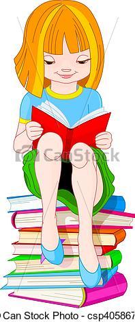 Vector Clipart of Girl reading book.