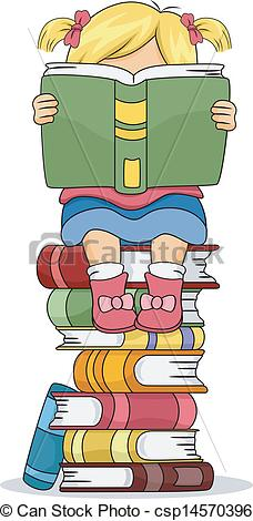 EPS Vectors of Little Kid Girl Reading a Book Sitting on Pile of.