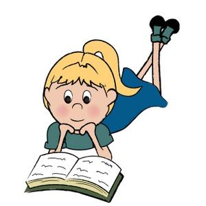 Girl Reading Book Clip Art.