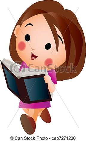 A Girl Reading Clipart.