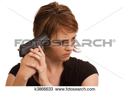 Stock Photo of Young Caucasian girl holding gun against her head.