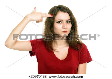 Pictures of Beautiful girl shooting at her head with hand gun.