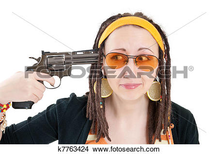 Stock Photo of suicide girl with gun k7763424.