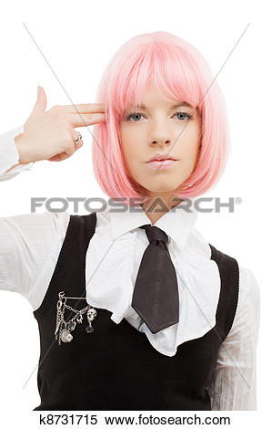 Stock Image of emo girl pointing imaginary gun at her head.