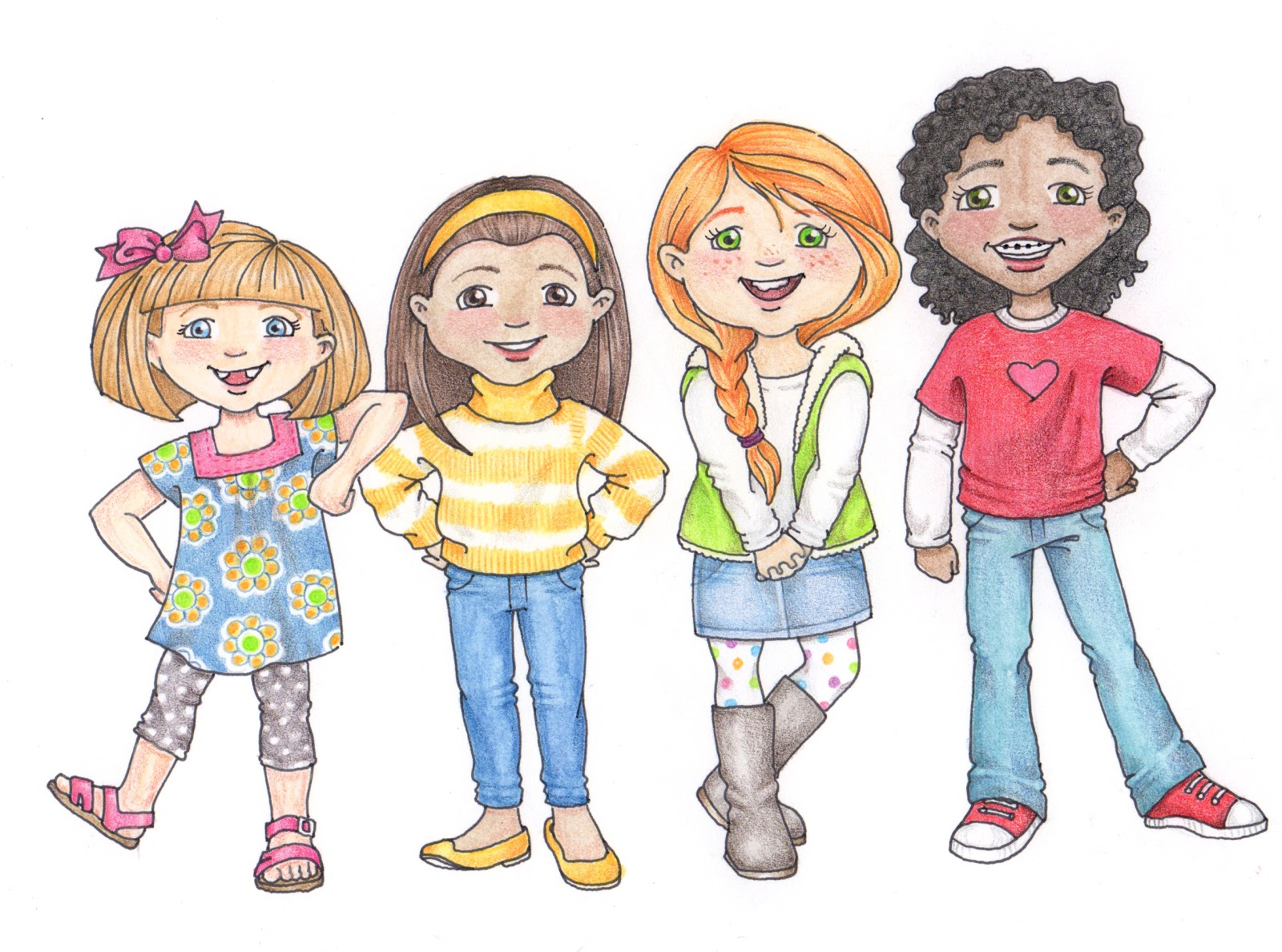 Girls Group Clipart.