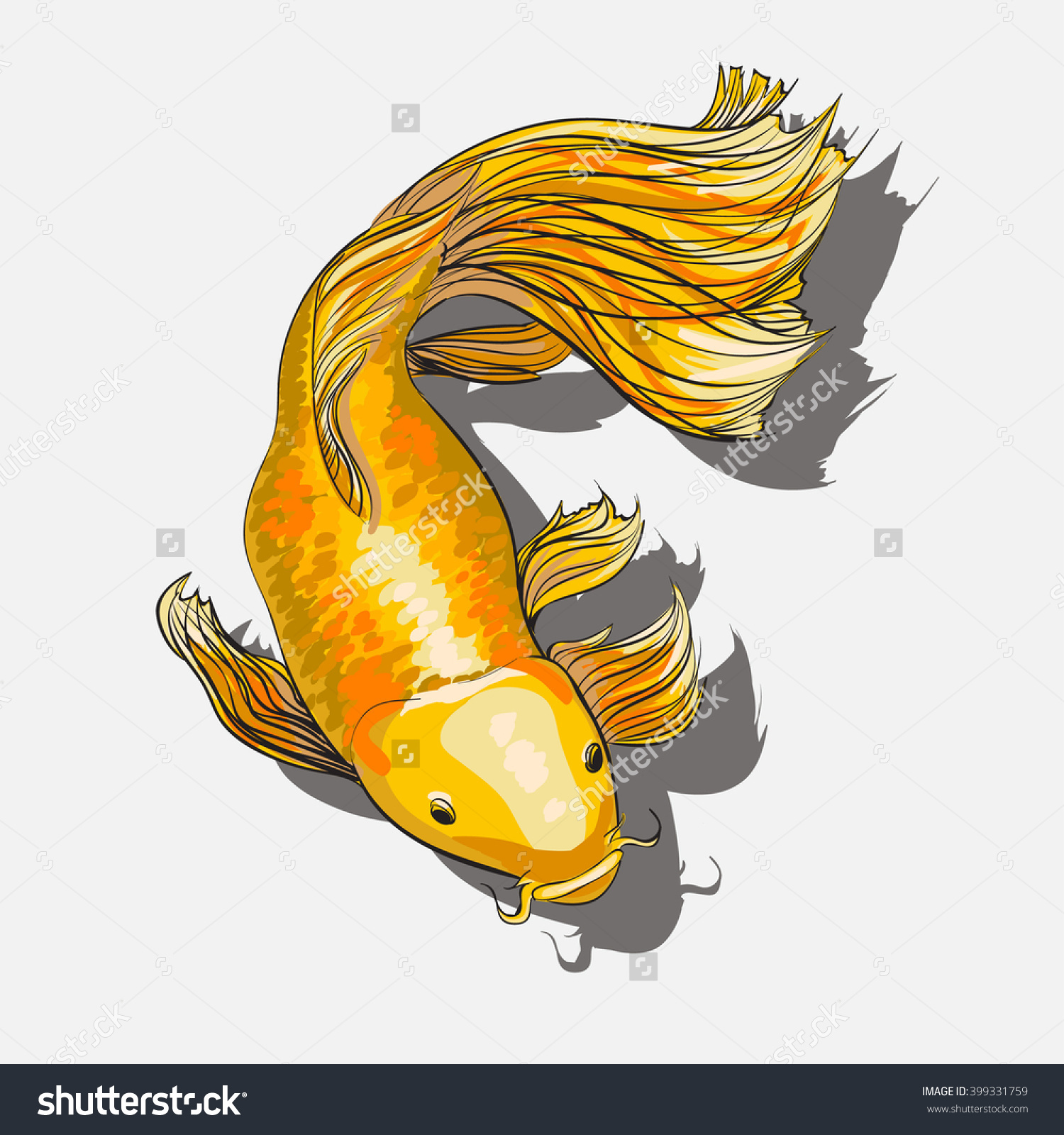 Gold Koi Fish Tattoo Color Style Stock Vector 399331759.