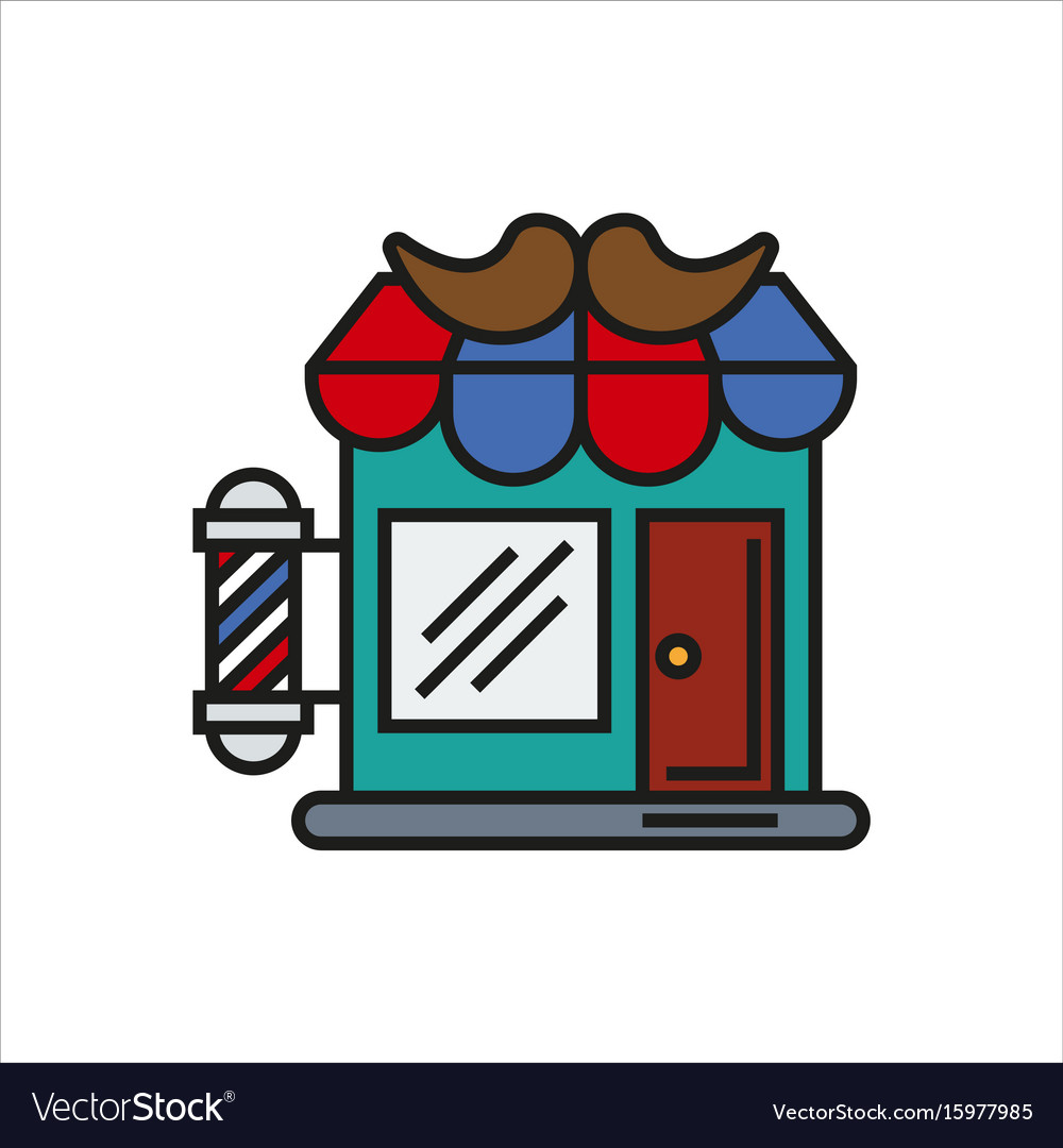 Hair salon store line icon.