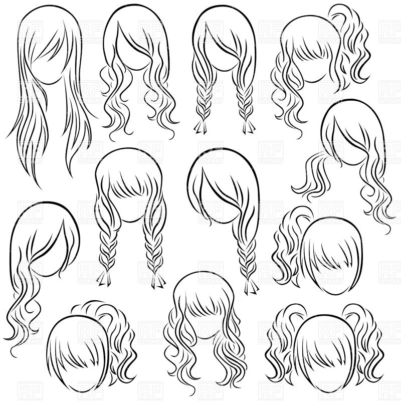 Set of teenage girl's hairstyles.