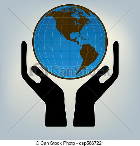 Vector Clip Art of Hands holding the world. EPS 8 vector file.