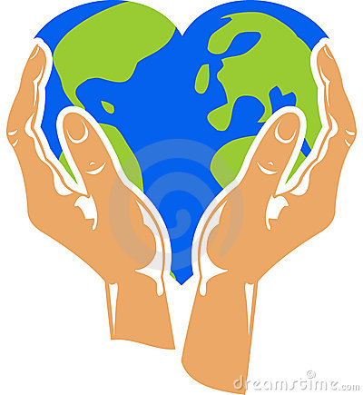 Heart Shaped Earth Stock Illustration.