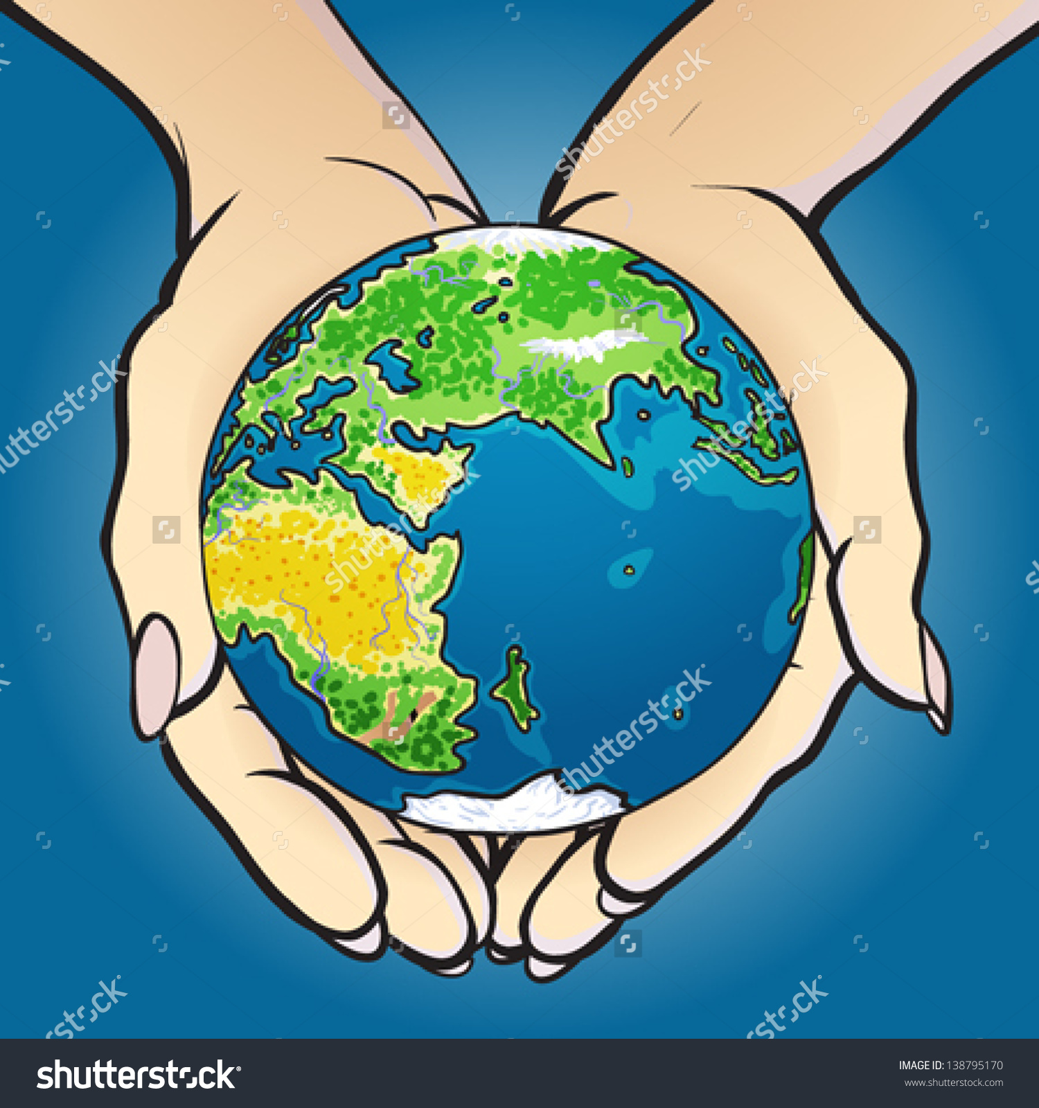 Vector Illustration Hands Holding Small Planet Stock Vector.