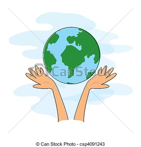 Vectors of Hands holding the world.