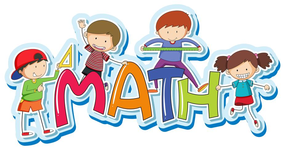 Font design for word math with happy kids.
