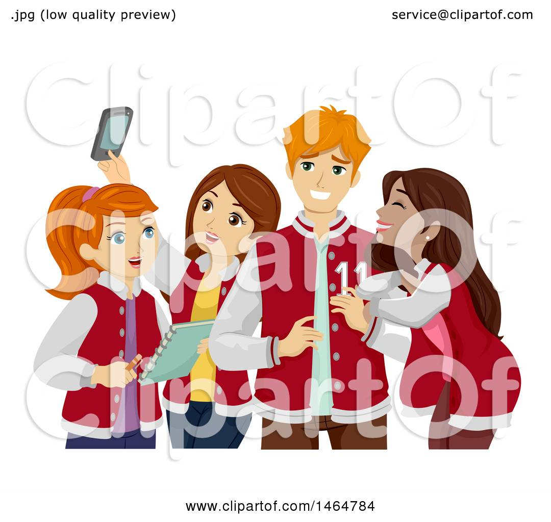 Clipart of a Group of High School Teenage Girls Hanging out with a.