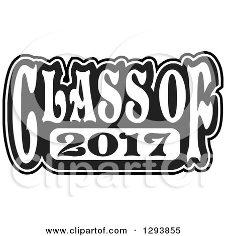 Clipart of a Black and White Class of 2017 High School Graduation.