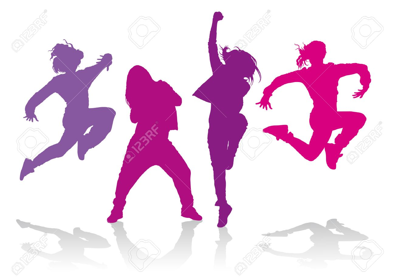 Detailed silhouettes of girls dancing hip hop dance.