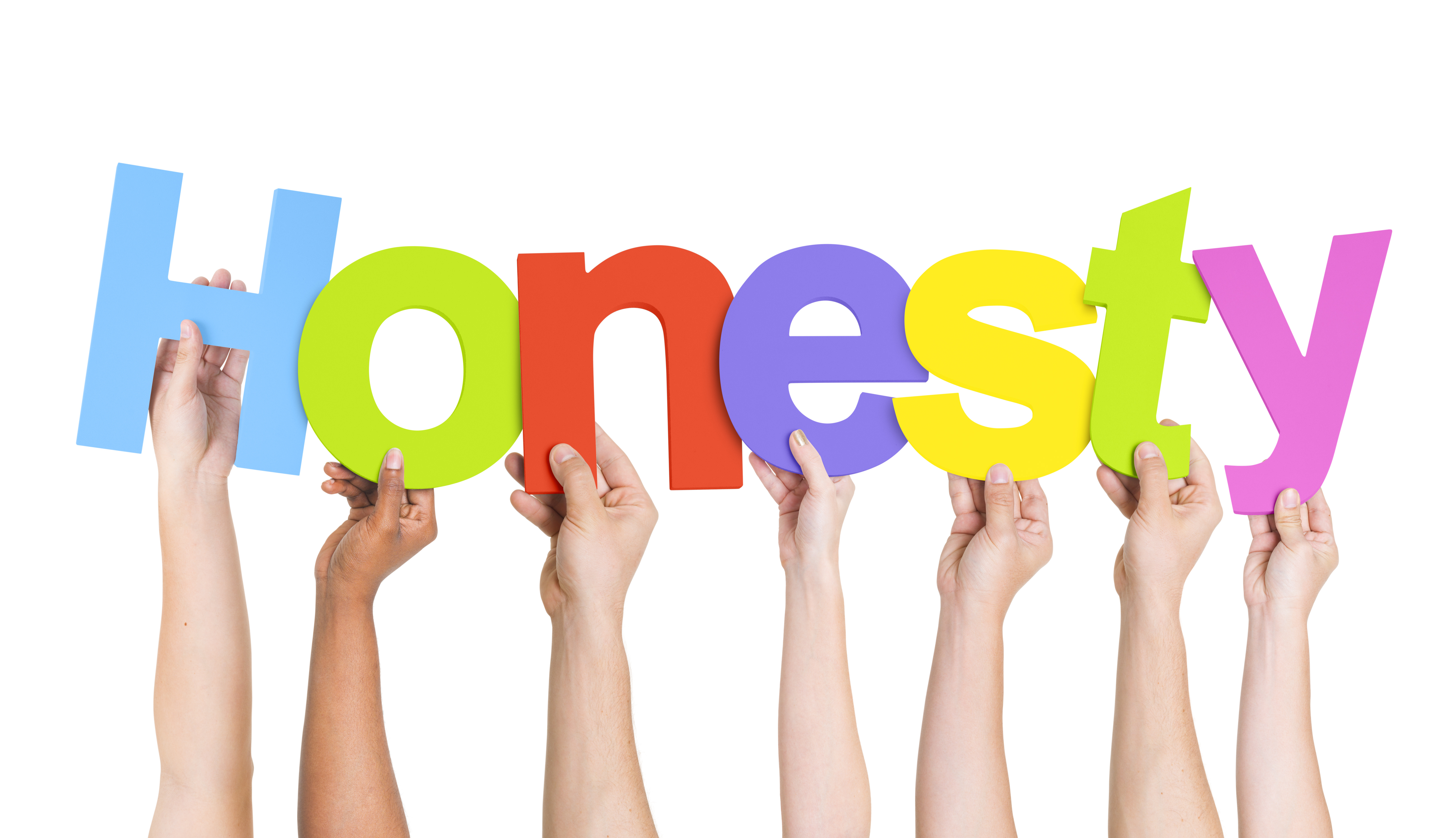 Clipart of the hands are holding honesty letters free image.