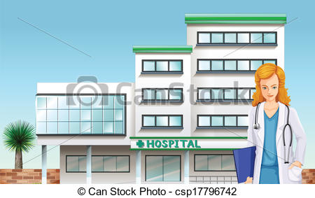 EPS Vector of A doctor in front of the hospital building.